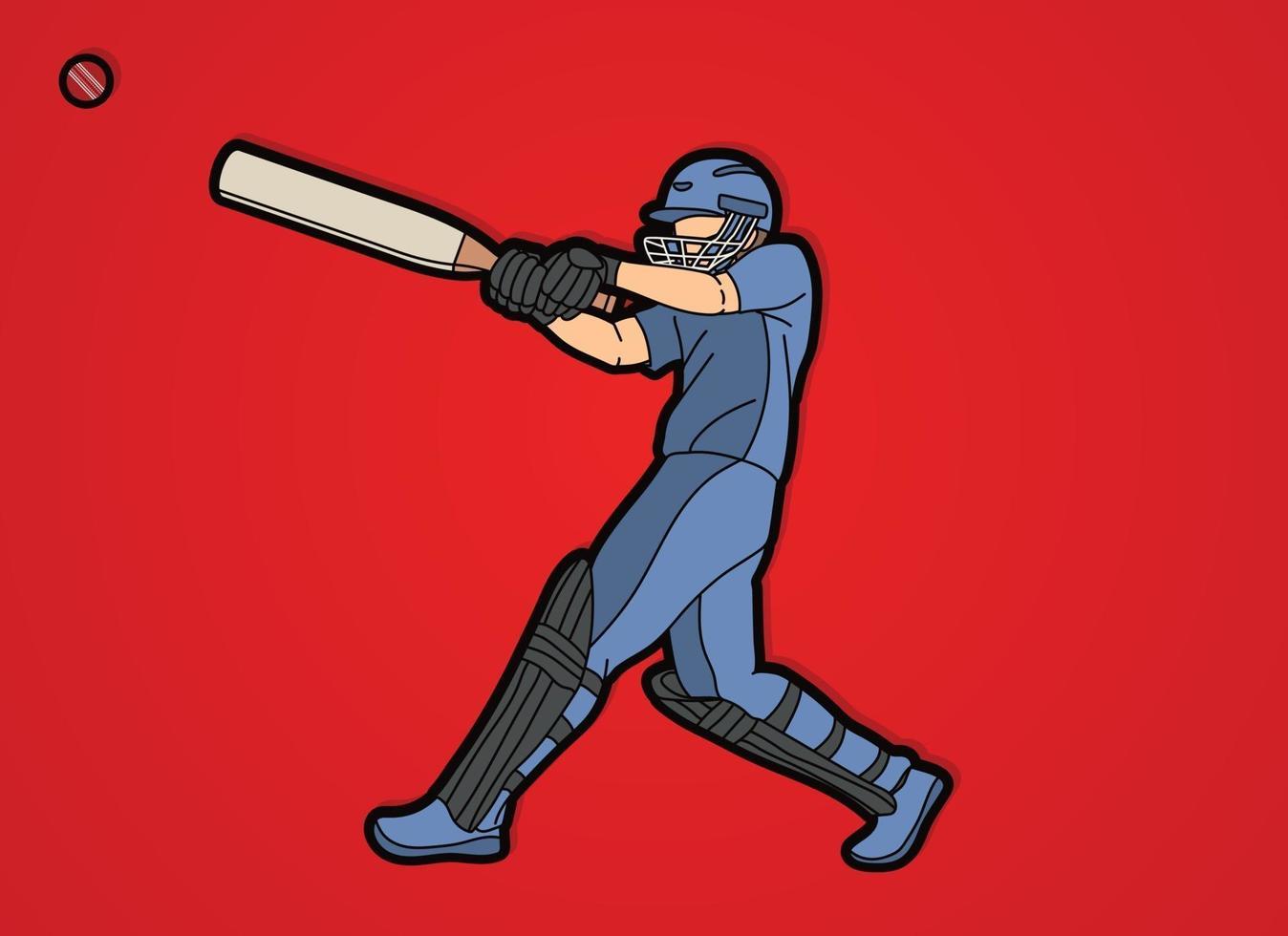 Cricketspieler trifft Ballaktion vektor