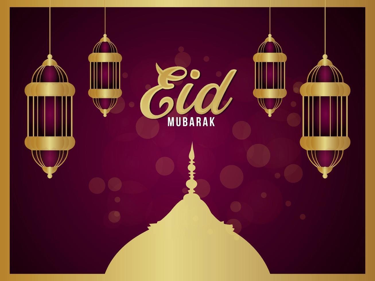 islamisk festival för eid mubarak firande gratulationskort med gyllene lykta vektor