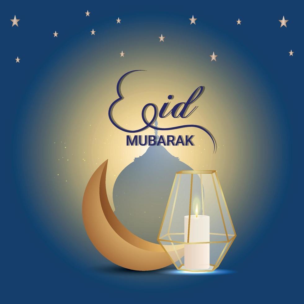 eid mubarak gyllene måne och gyllene lykta vektor