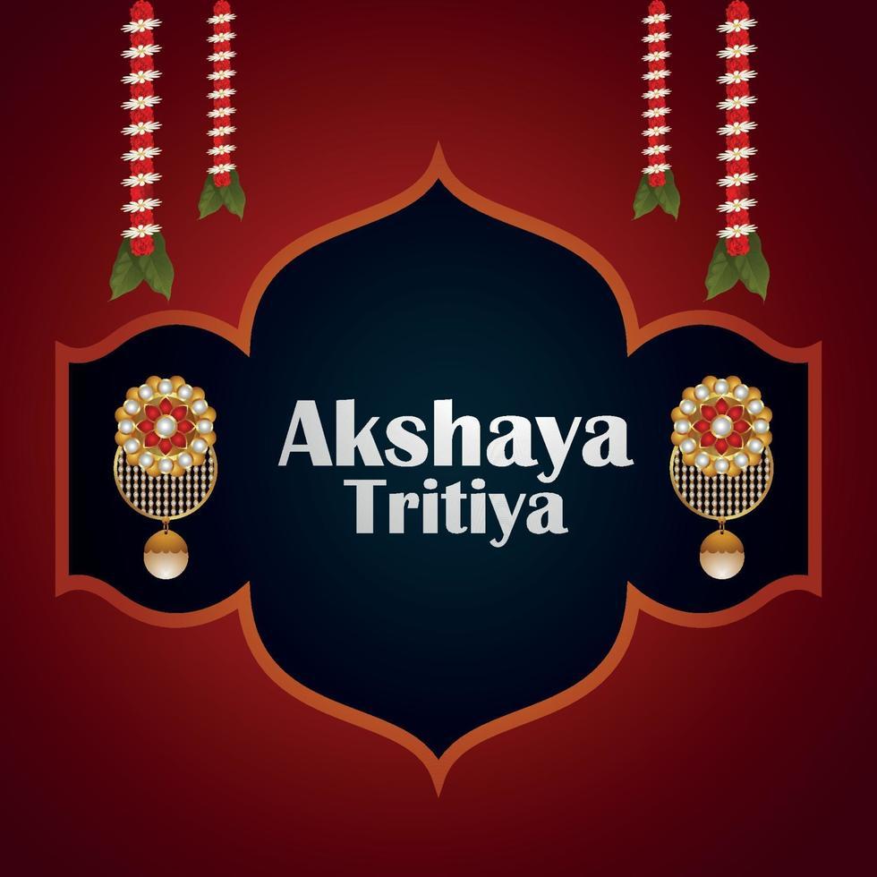akshaya tritiya firande vektorillustration med guldörhänge och kransblomma vektor