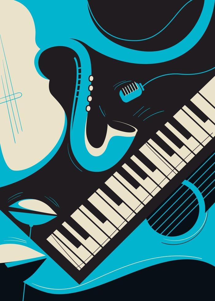 Plakatschablone mit Saxophon und Klavier. vektor