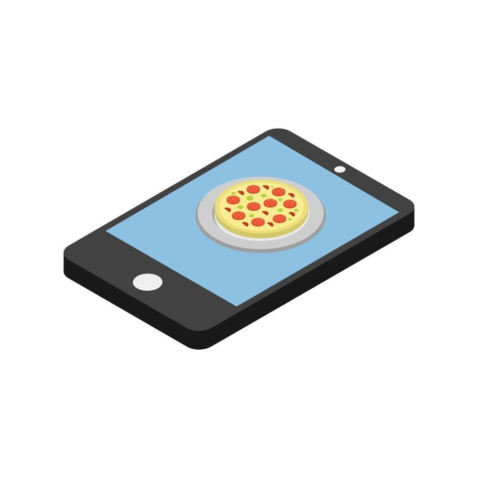 köp pizza online isometrisk vektor