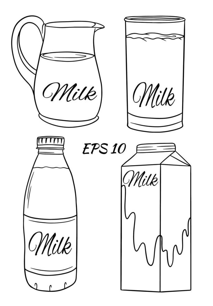 Satz Vektorillustrationen im Karikaturstil von Glasflaschen mit Milch. Milch in einem Glas, einem Krug, in einem Karton, in einer Flasche. vektor