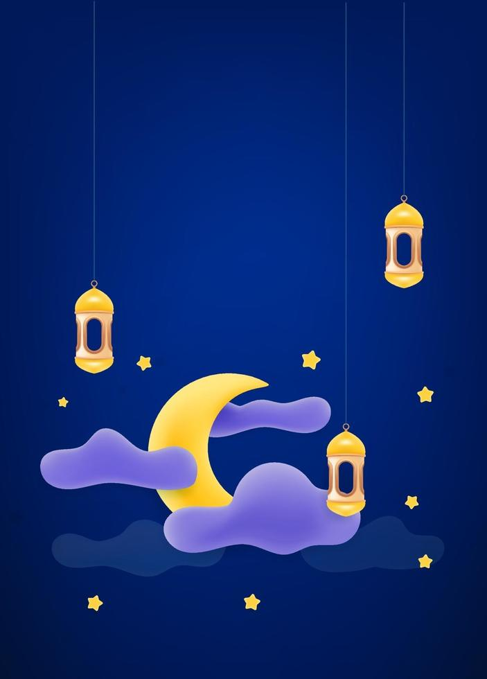 islamisk helgdag dekoration. vektor banner med månen och molnen. vektor banner med kopia utrymme