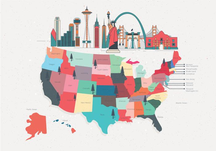 Färgglada United States Landmark Map Vector