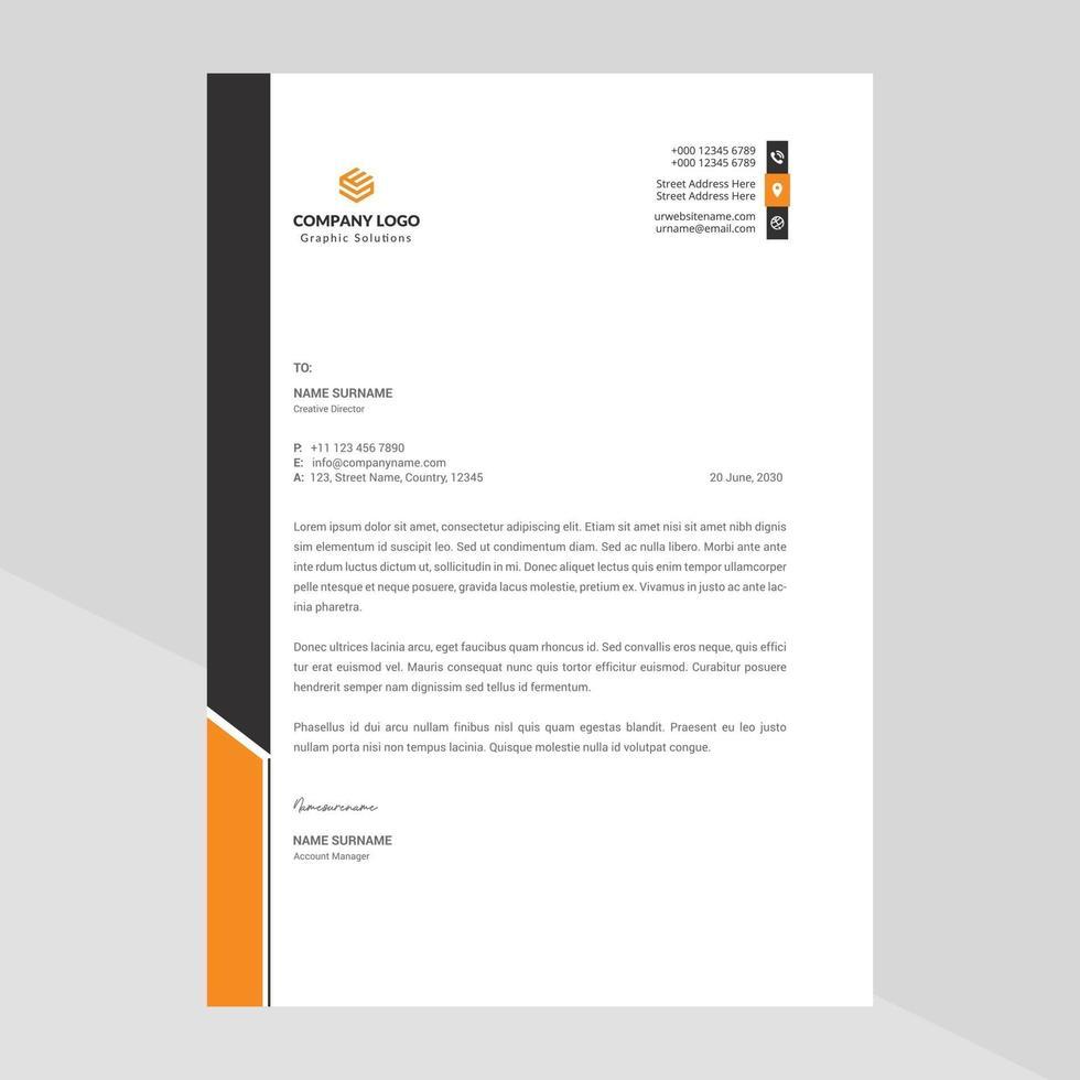 abstraktes professionelles Briefkopfschablonendesign des Unternehmens vektor