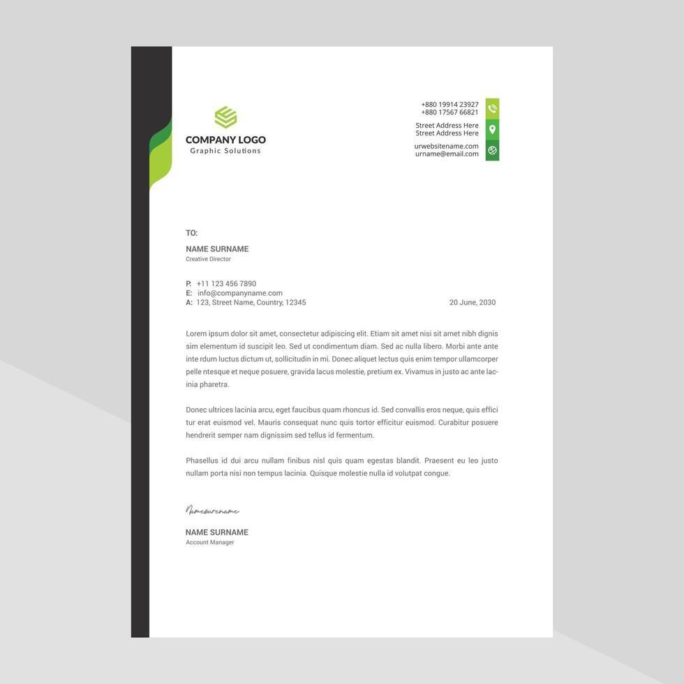 Corporate Business Briefkopf, elegante und minimalistische Stil Briefkopf Vorlage Design voller Vektor