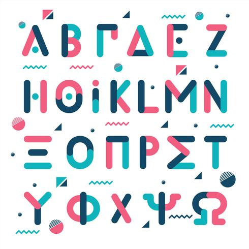 Memphis-Art-griechisches Alphabet vektor