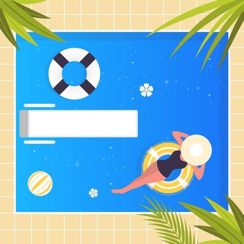 Vector Swimming Pool Sommar Illustration