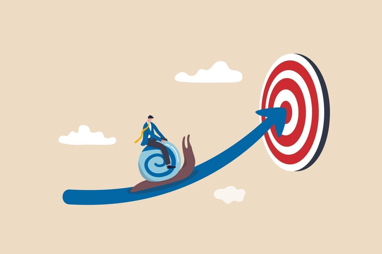 Geschäftsmann reitet Schnecke langsam auf Pfeil, um Ziel zu erreichen vektor