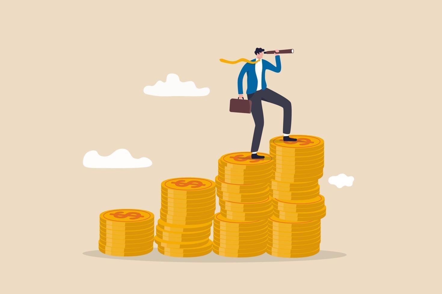 Geschäftsmann Führer auf Wachstum Geldstapel mit Teleskop oder Fernglas mit Blick auf eine glänzende Zukunft vektor