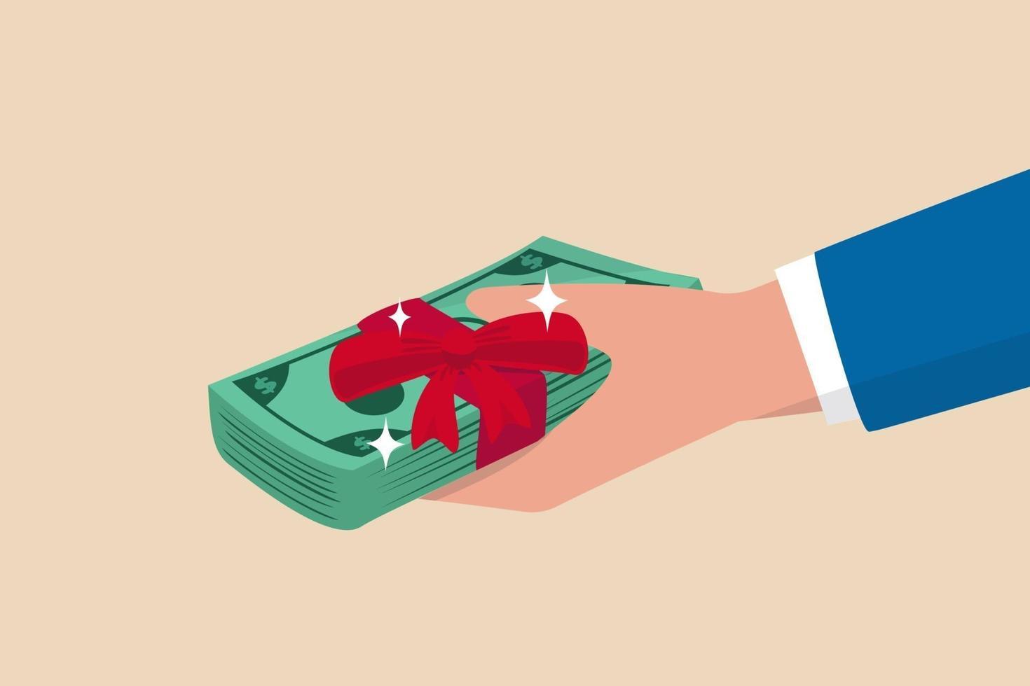 Hand des Geschäftsmannchefs, der Banknoten Bargeld mit Belohnungsband gibt vektor