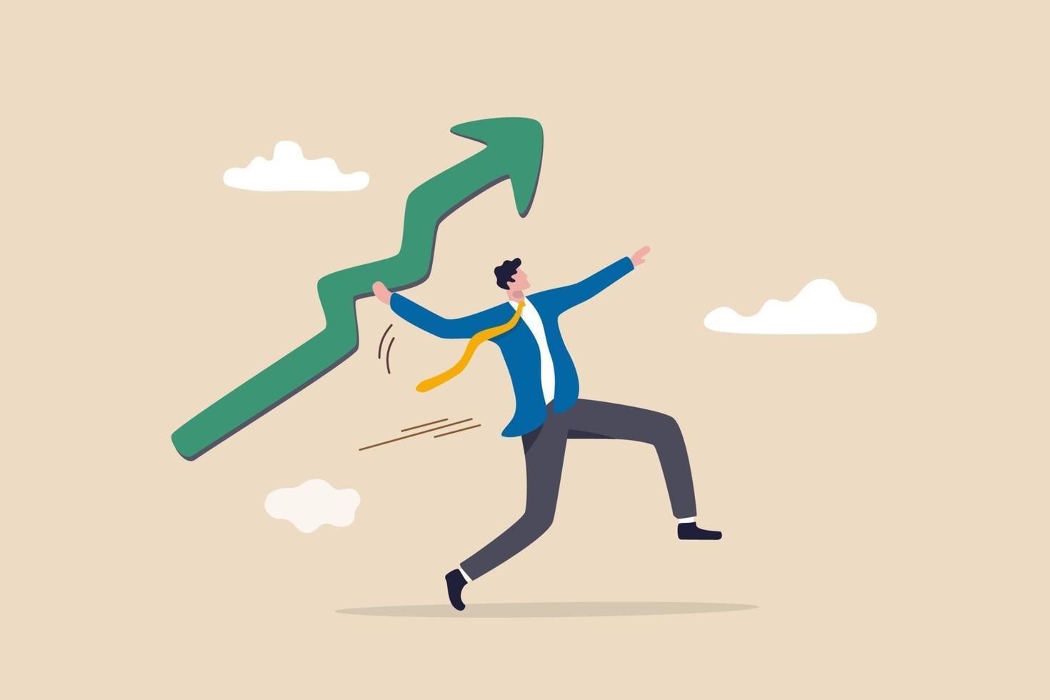 affärsman som kastar grönt stiger upp pilspjut vektor