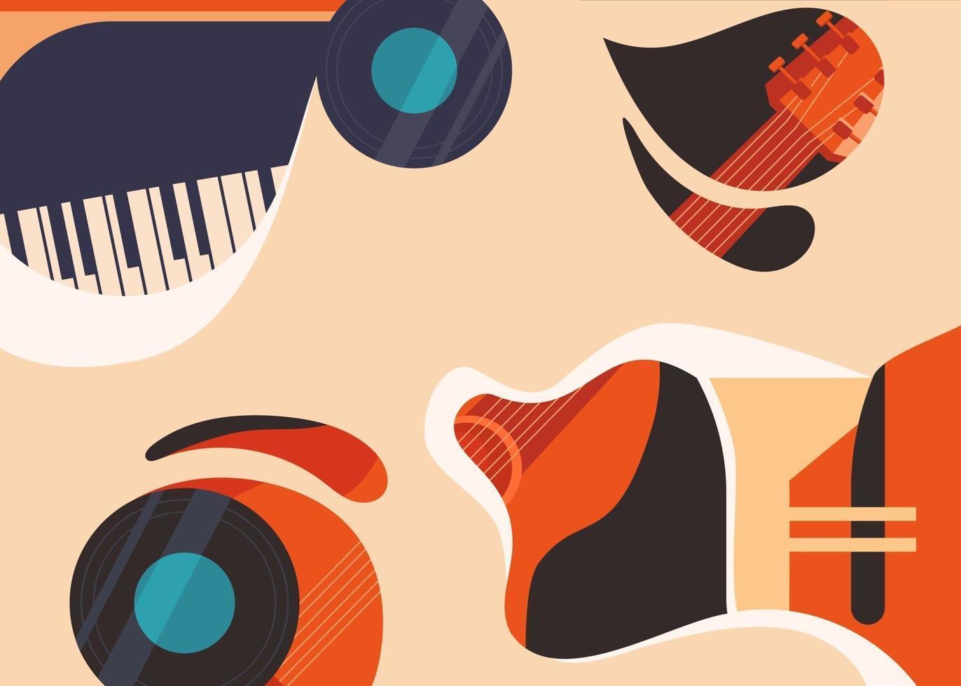 Banner Vorlage mit Gitarre und Klavier. vektor