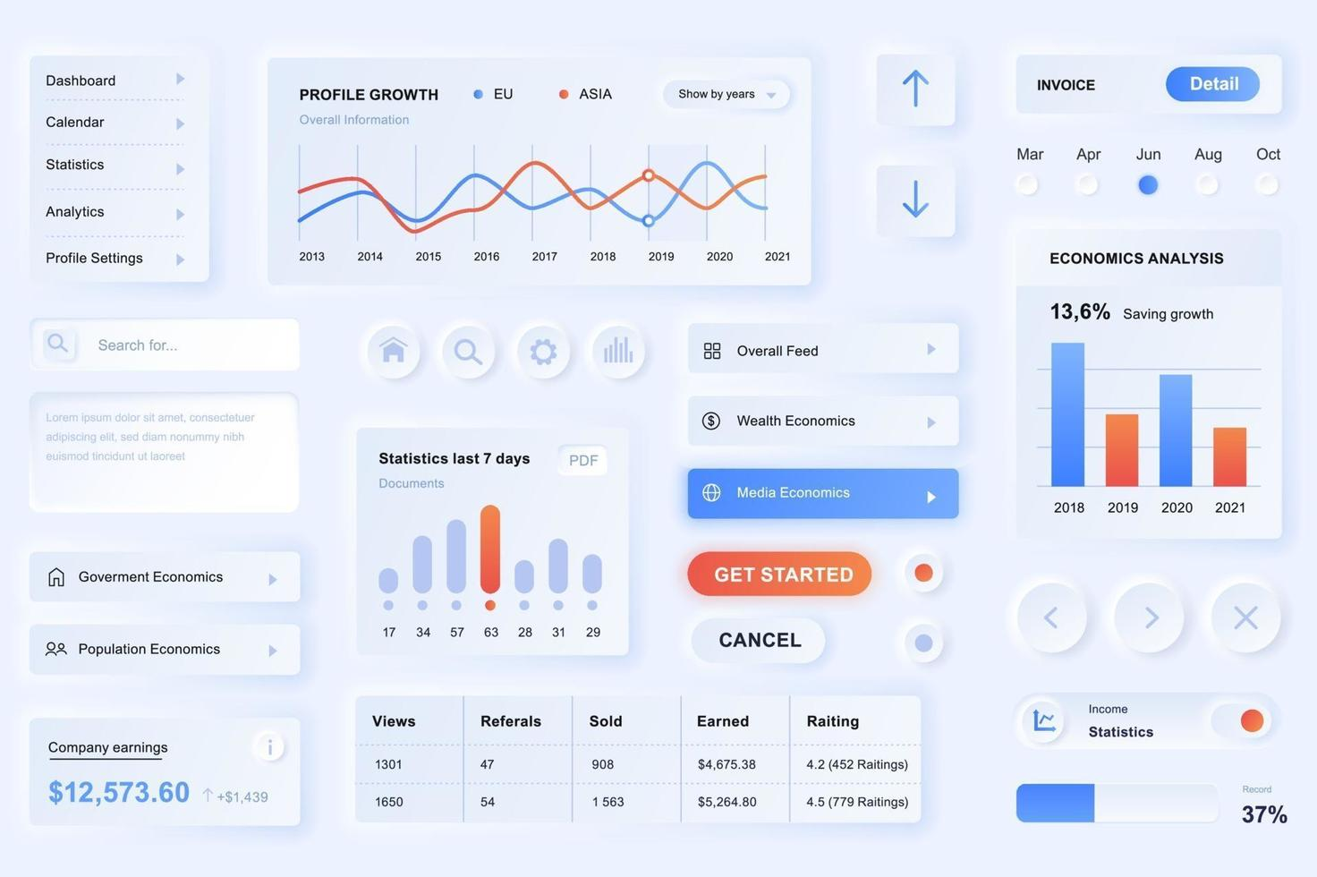 Elemente der Benutzeroberfläche für die Datenanalyse App neumorphic Design UI-Elemente Vorlage vektor
