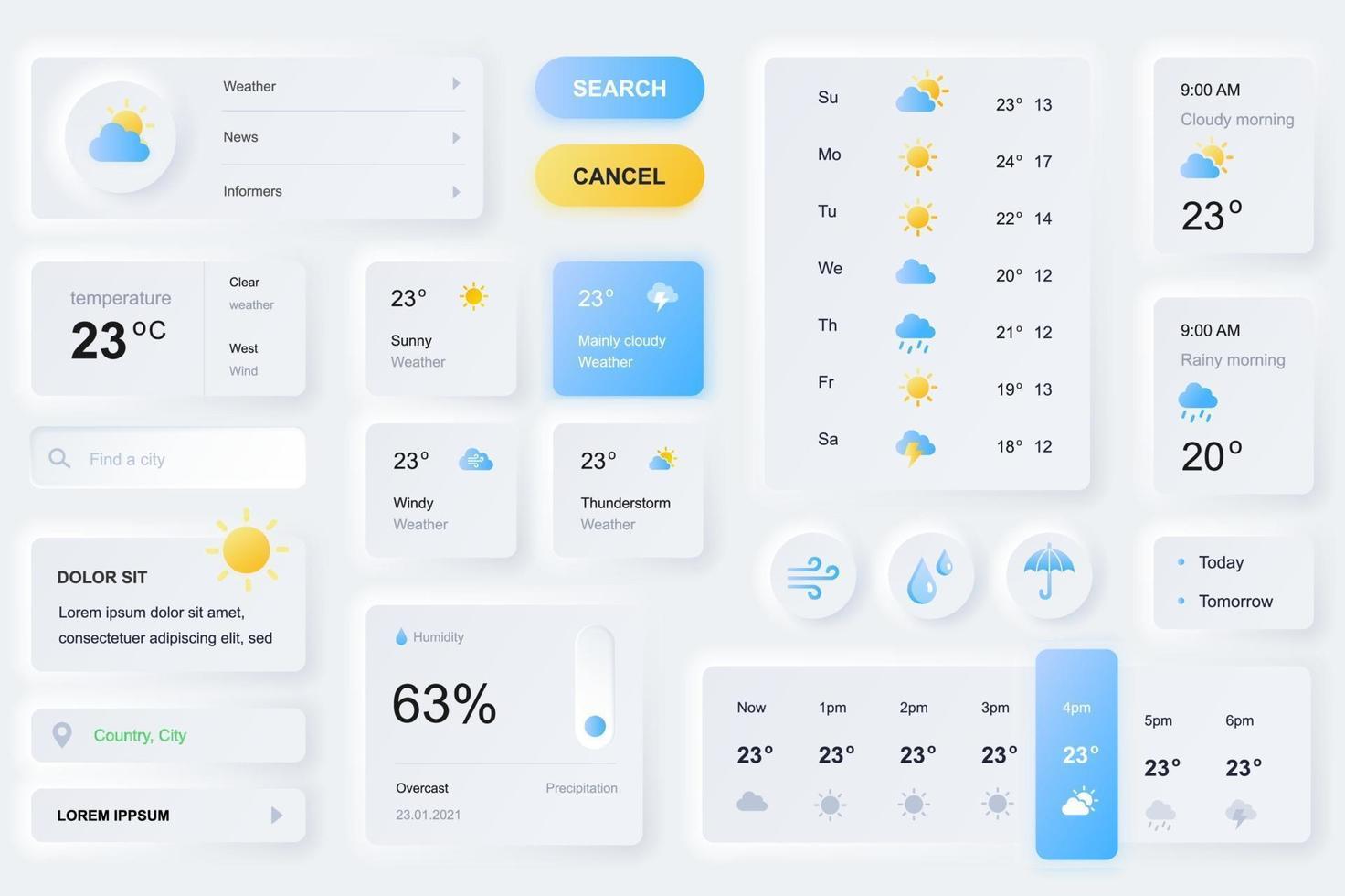 Elemente der Benutzeroberfläche für die Wettervorhersage-App neumorphic Design UI-Elemente Vorlage vektor