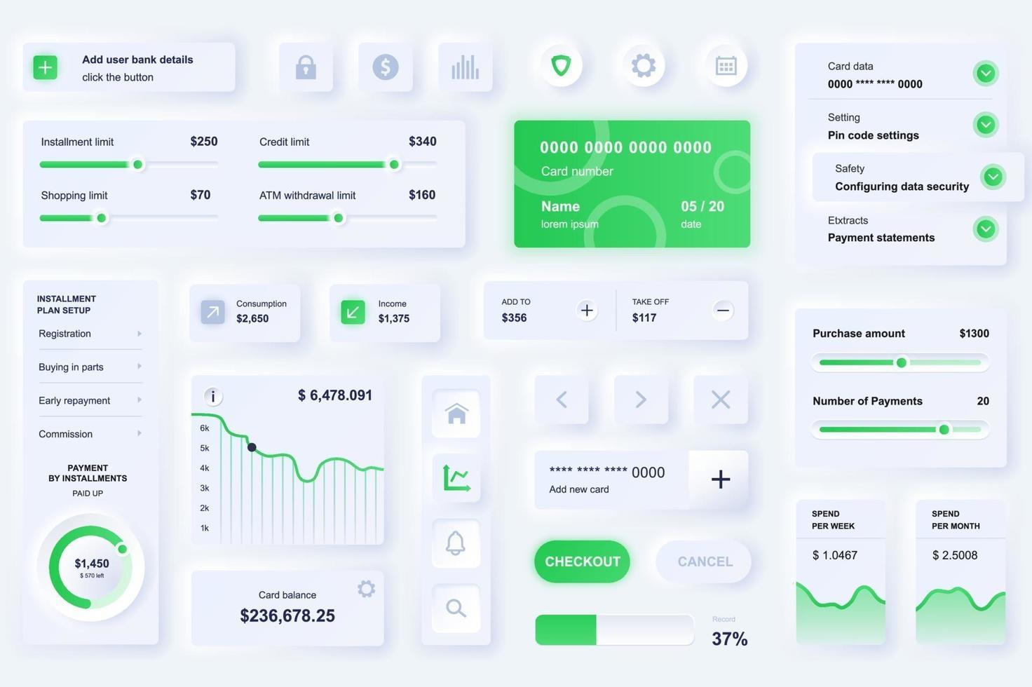 Elemente der Benutzeroberfläche für das Online-Banking Mobile App Neumorphic Design UI-Elemente Vorlage vektor