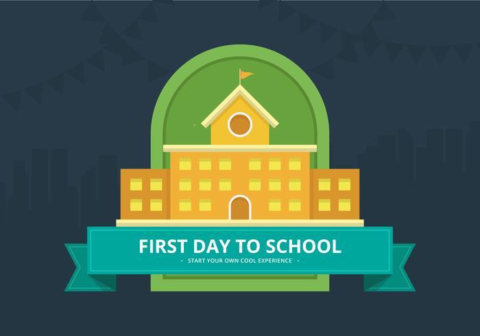 Första dagen tillbaka till skolan illustration för barn eller student. vektor