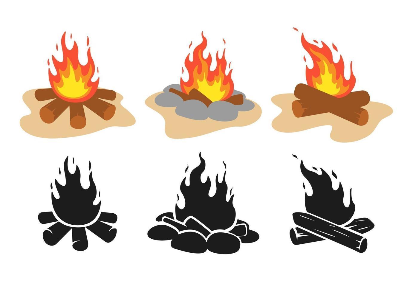 Vektor Lagerfeuer gesetzt