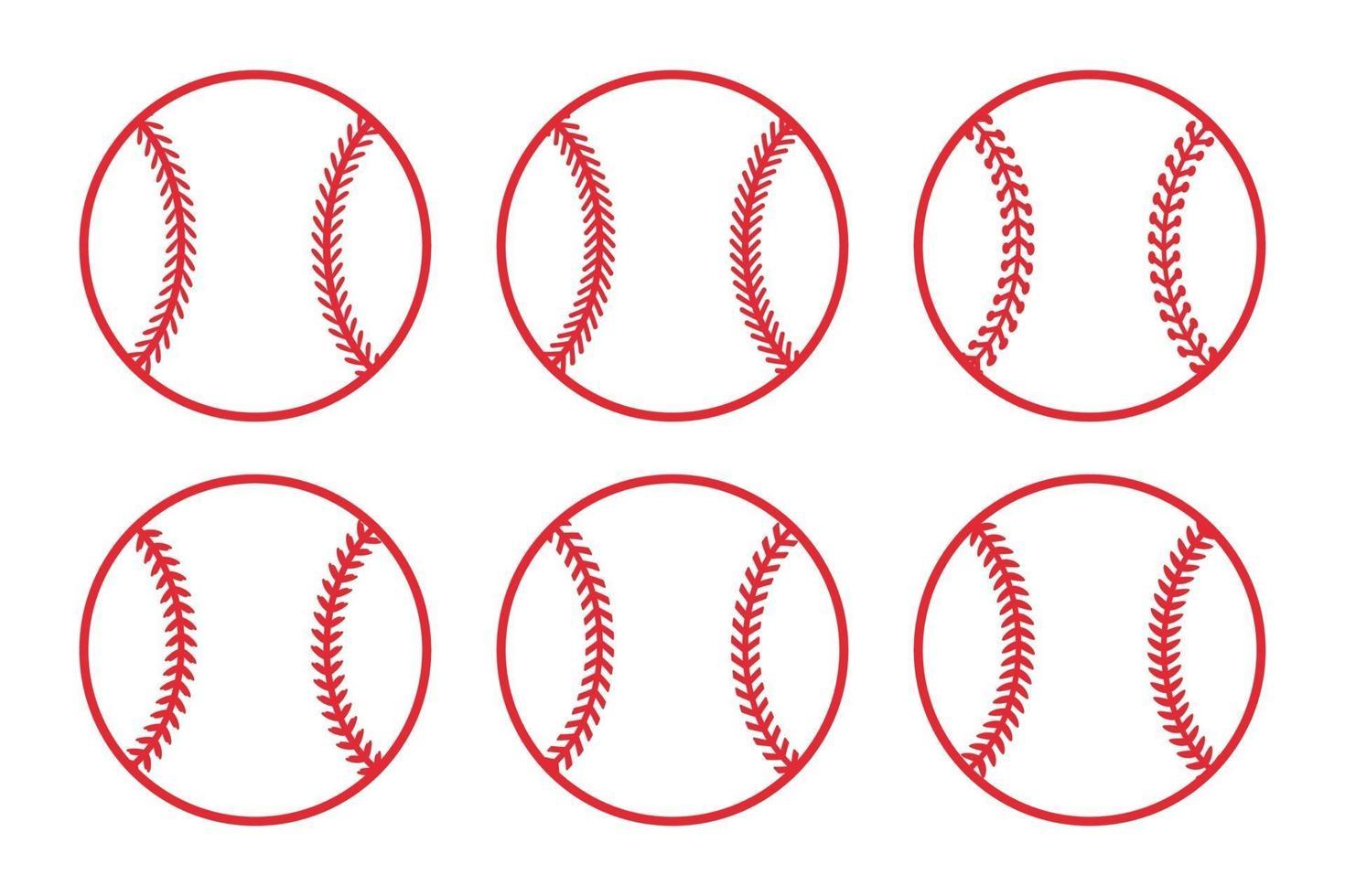 roter Baseballball gesetzt vektor