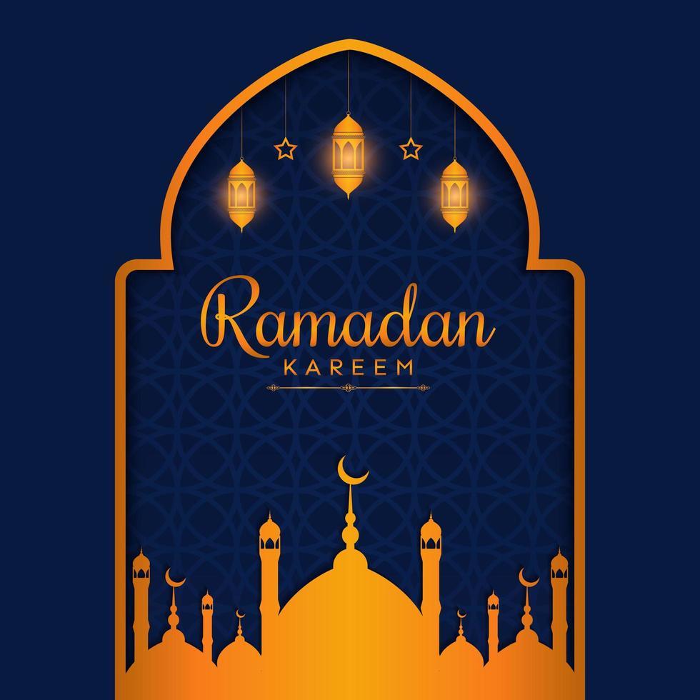 schöne Ramadan-Hintergrundschablone mit goldener Farbe vektor