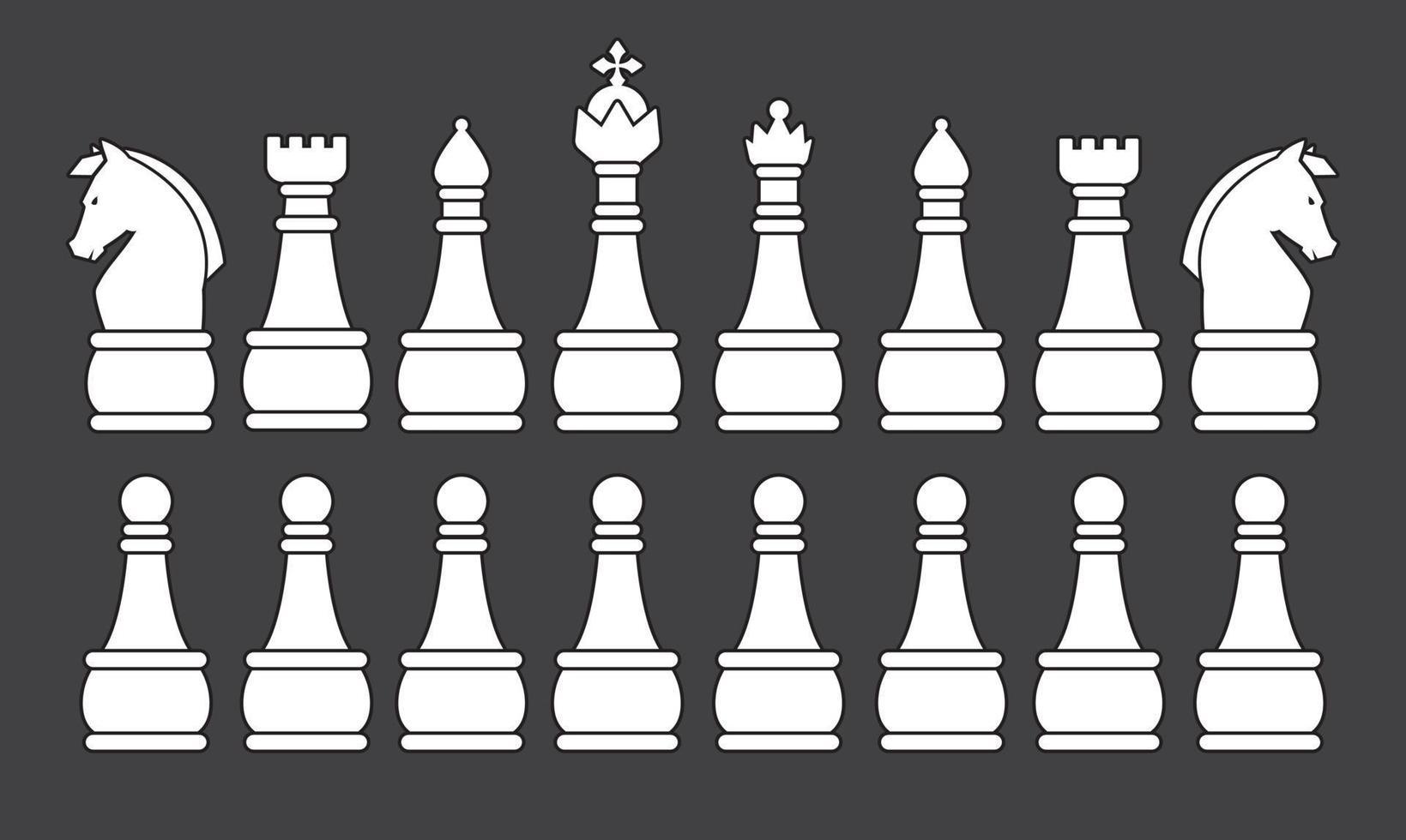weiße Schachspiel-Silhouette vektor