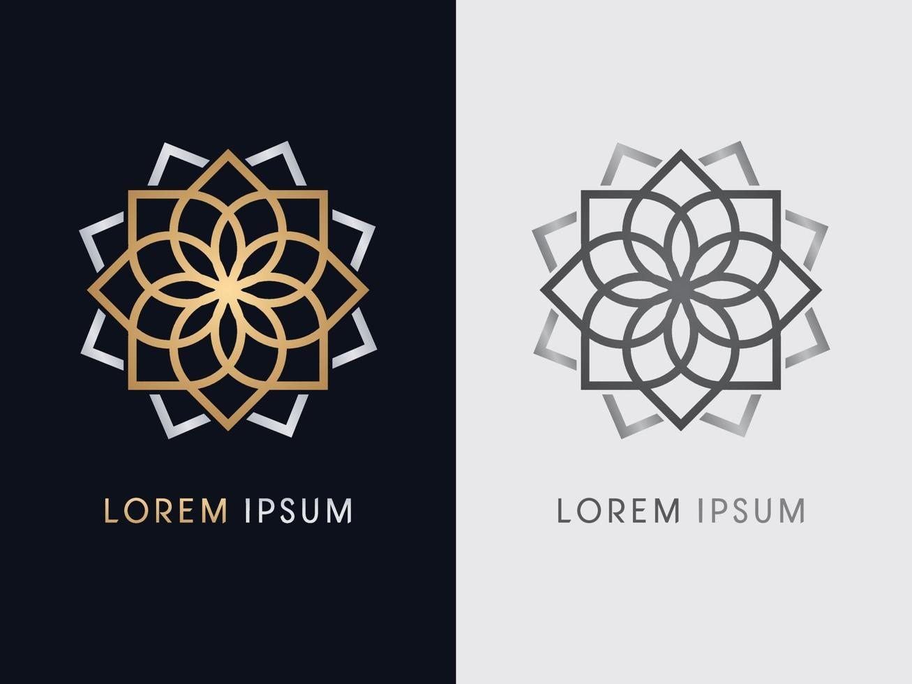 Luxus Lotus Blumenlinie vektor