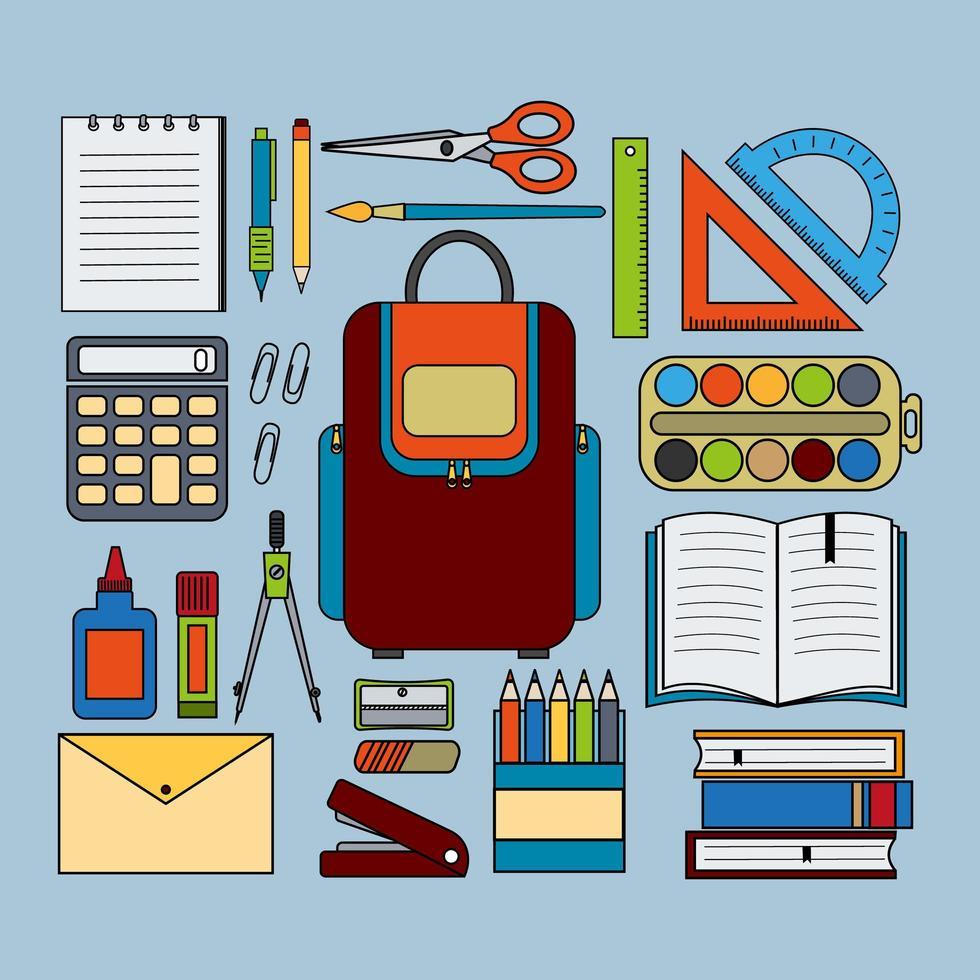 Büro- und Schulbriefpapier eingestellt auf blauem Hintergrund vektor