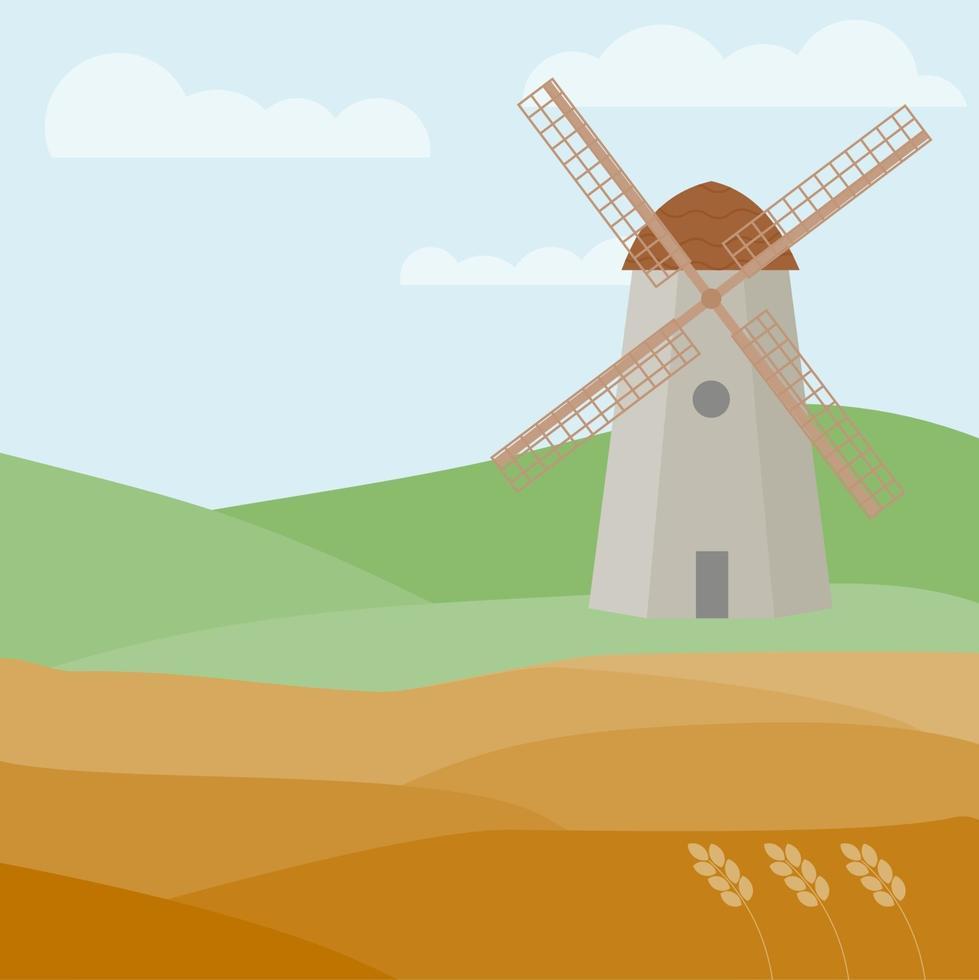 abstrakte Getreidefelder. Landschaft mit einer Windmühle. Weizenfelder vektor