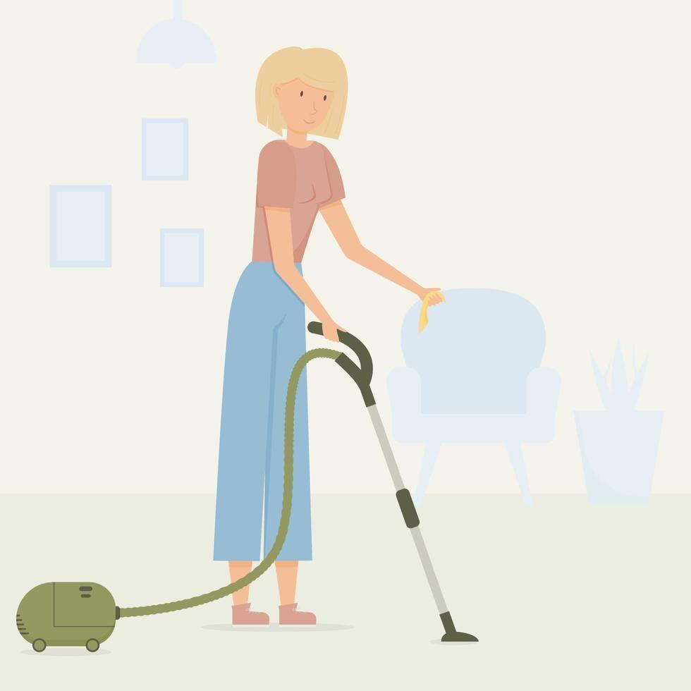 Ein junges blondes Mädchen mit einem Staubsauger und einem Lappen in den Händen putzt das Haus. Innenraum des Hauses, ein Stuhl mit einer Blume und Gemälden an der Wand vektor