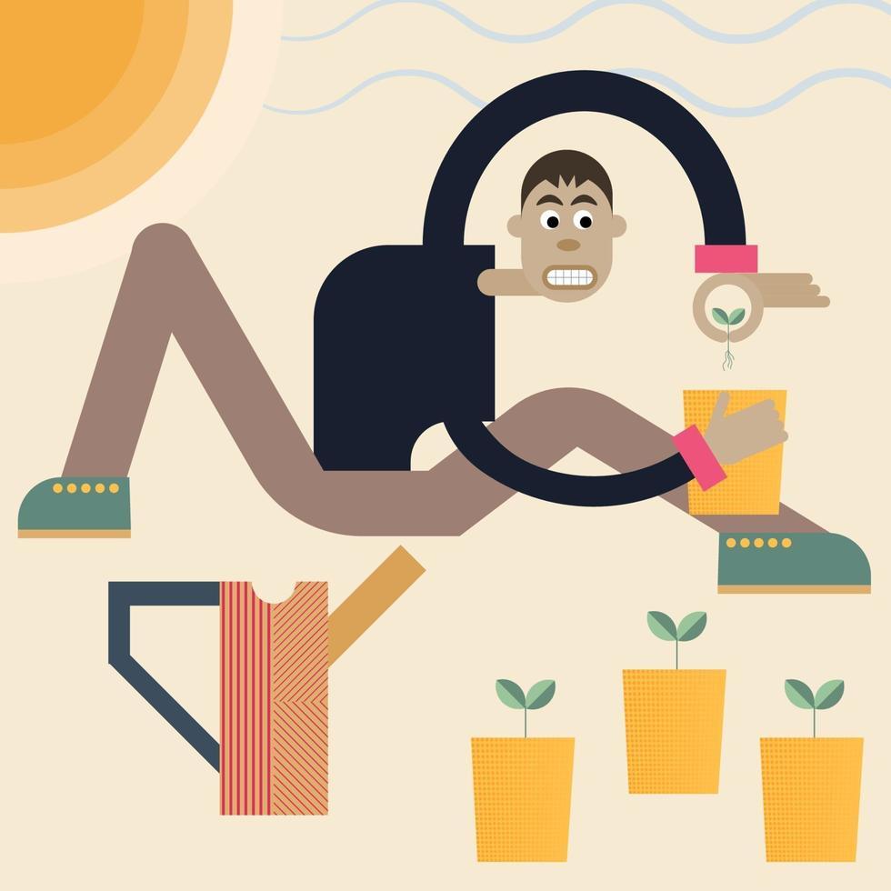 Mann pflanzt Samen. Vektor abstrakte Illustration eines Gärtners mit Pflanzen und Gießkanne