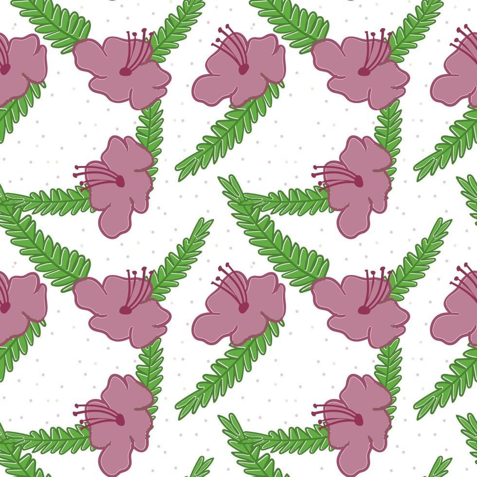 nahtloses Blumenmuster. rosa Blume mit Umriss, grünem Blatt und farbigen Punkten mit transparentem Hintergrund vektor