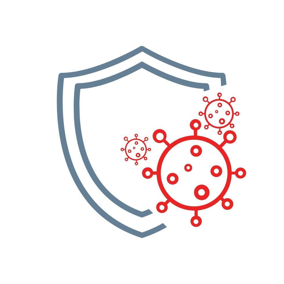 Schutzschild vor dem Schutzsymbol für Covid-19-Coronaviren vektor