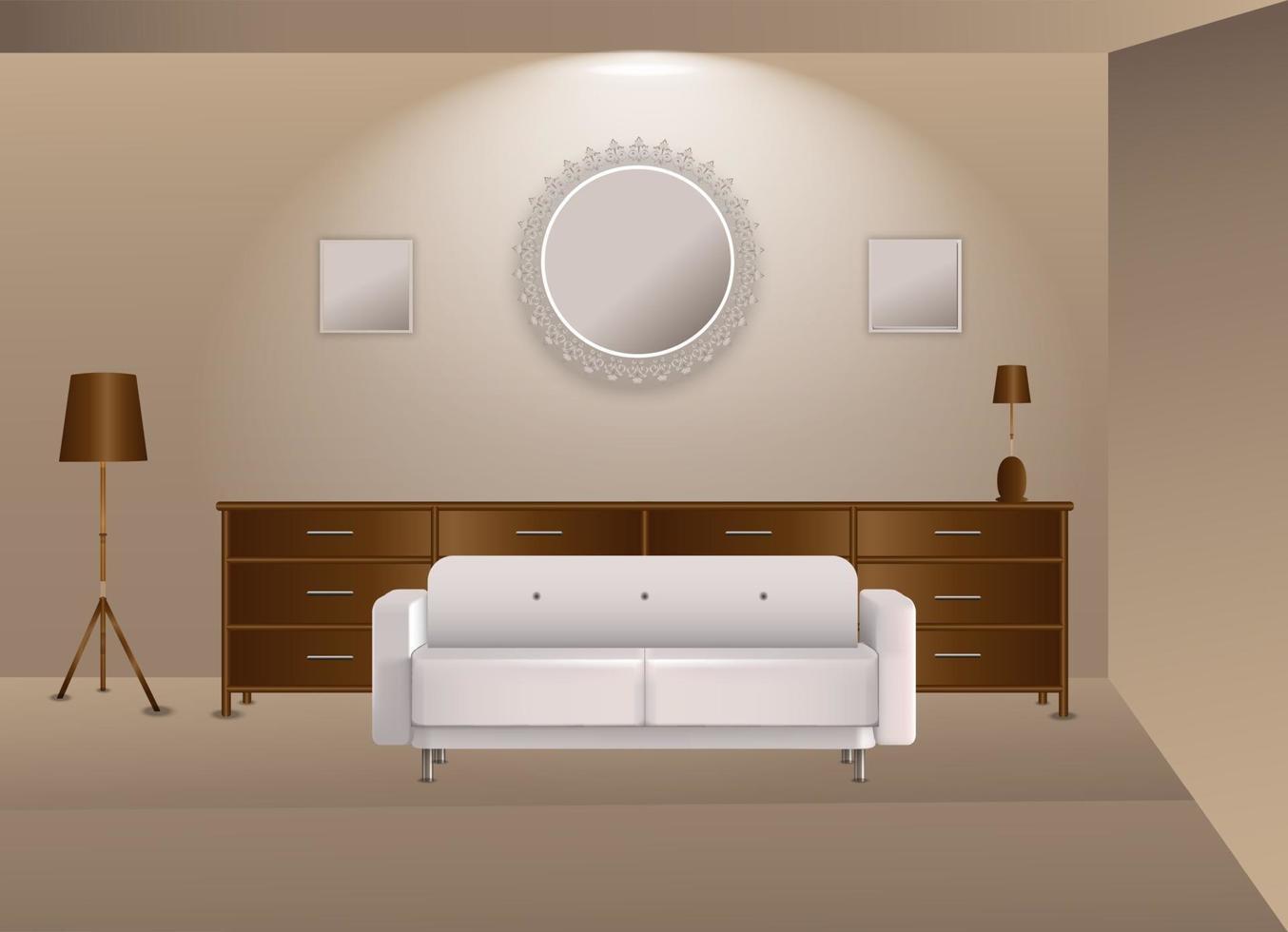 Illustrationsgrafikvektor der realistischen Innenarchitektur in der braunen Farbe vektor