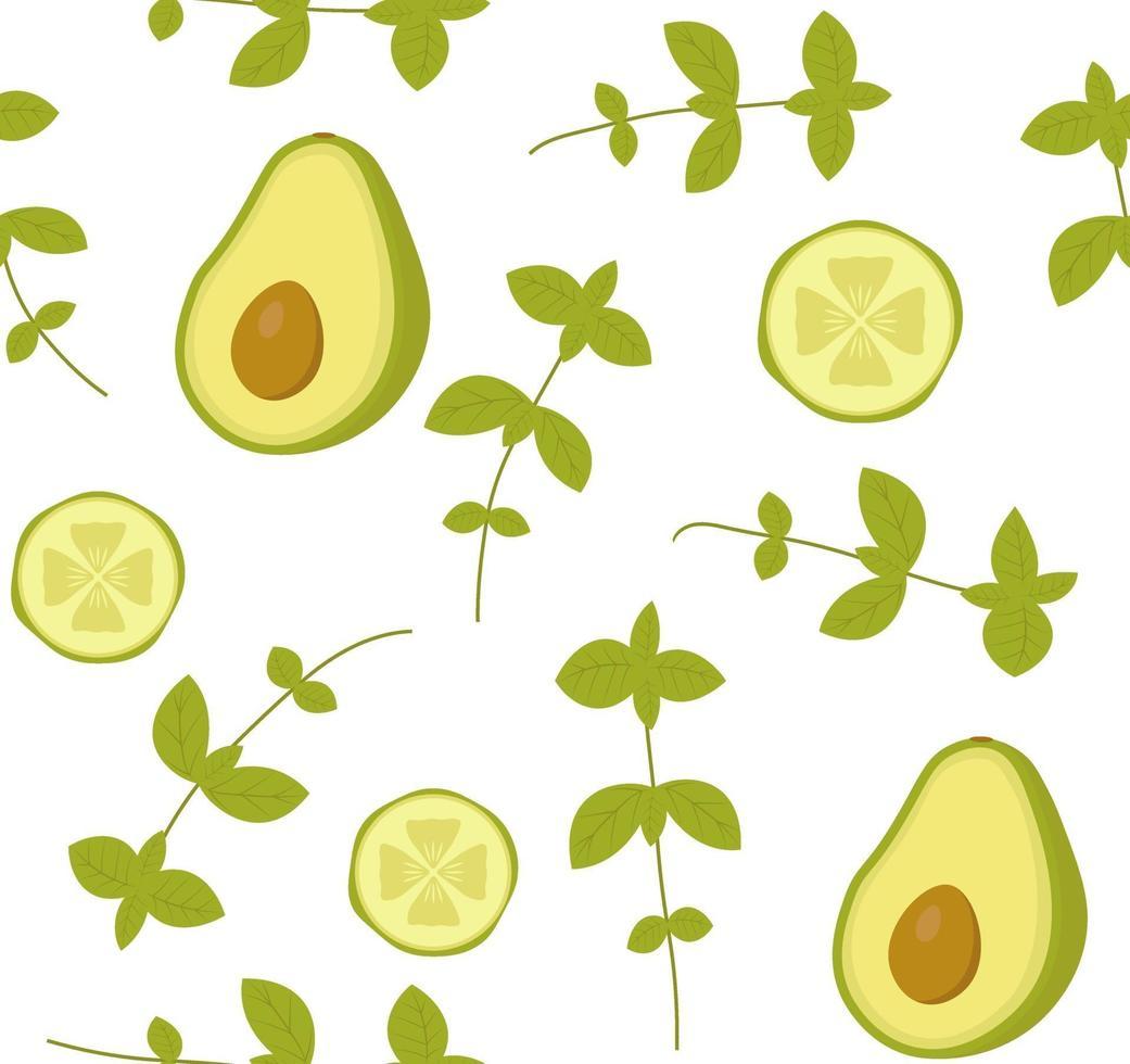 Vektor nahtloses Muster mit Avocado, Gurke und Basilikum. Perfekt für Tapeten, Hintergrund, Geschenkpapier oder Textilien. grünes Gemüse und Kräuter auf weißem Hintergrund.