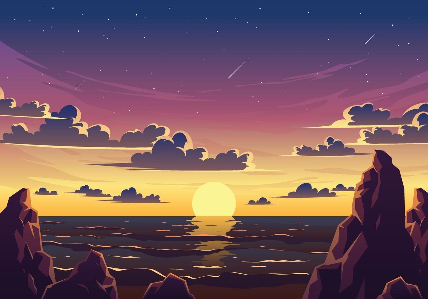 Sonnenuntergang Strand Landschaft Illustration vektor
