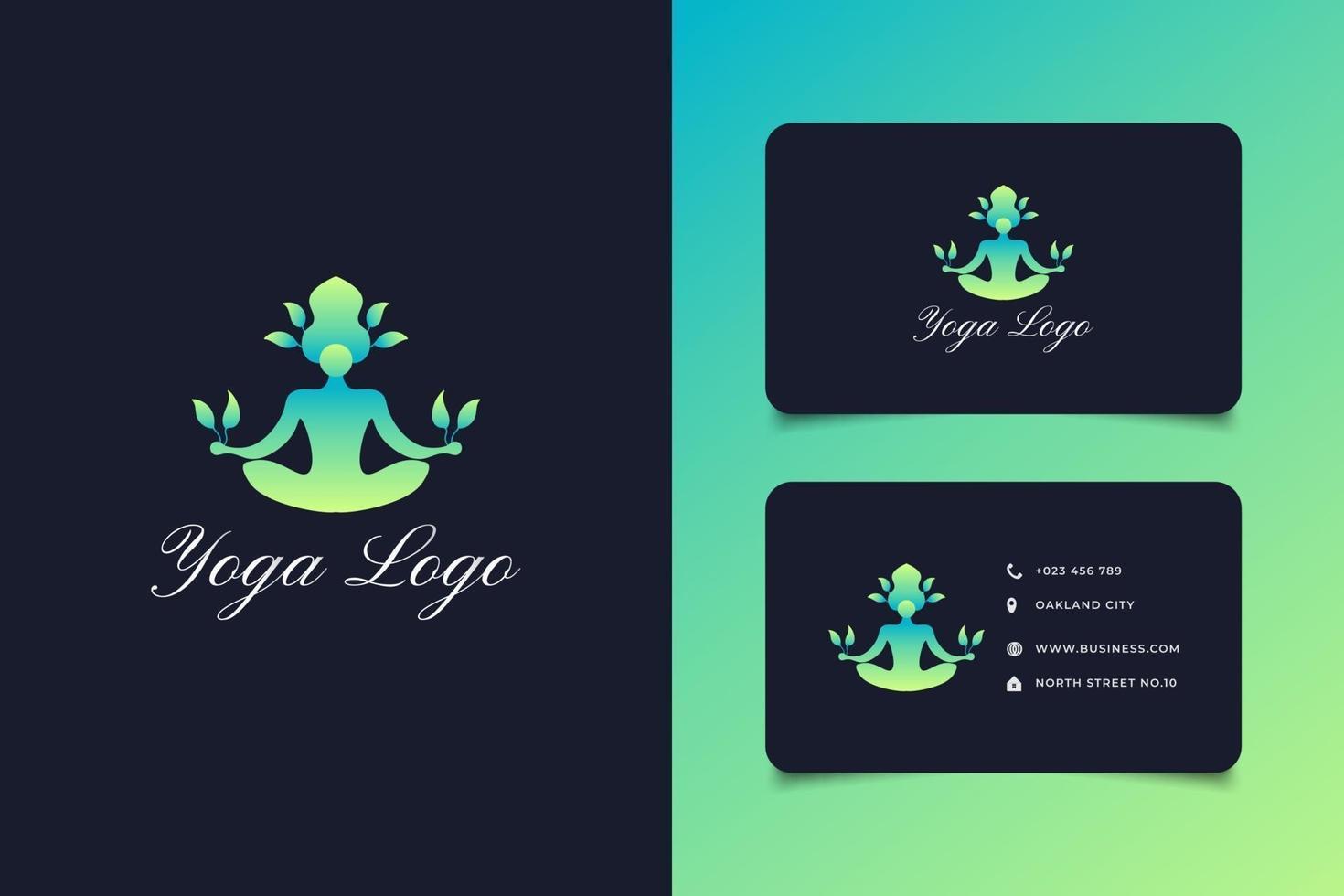 grünes Yoga-Logo-Design mit menschlichen Halteblättern vektor