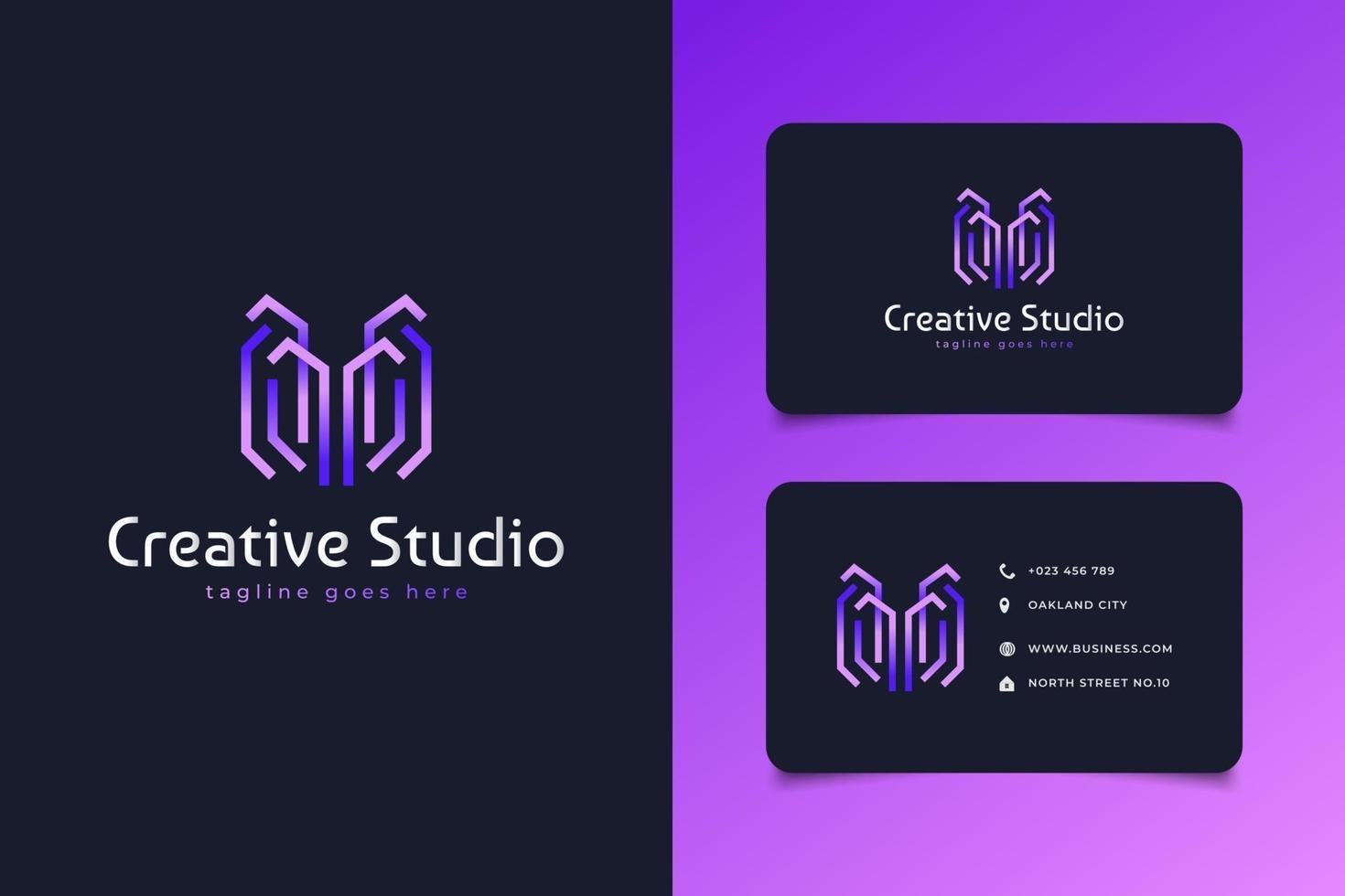 Logo des abstrakten Buchstabens m im lila Farbverlauf und im Linienstil mit modernem Konzept vektor