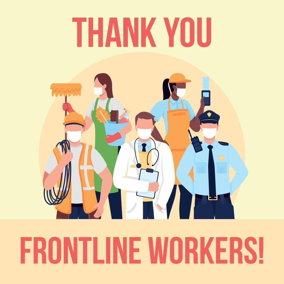wesentliche Frontline-Mitarbeiter Social-Media-Post-Modell vektor