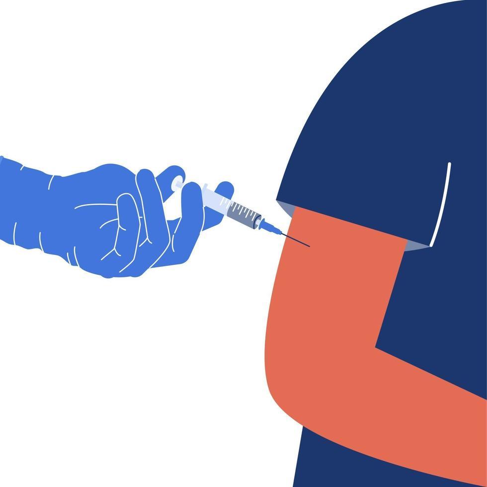 Impfung gegen Coronavirus, macht der Arzt eine Injektion in den Armmuskel. Kampf gegen die Covid-19-Pandemie. Vektorbild in einem flachen Stil vektor