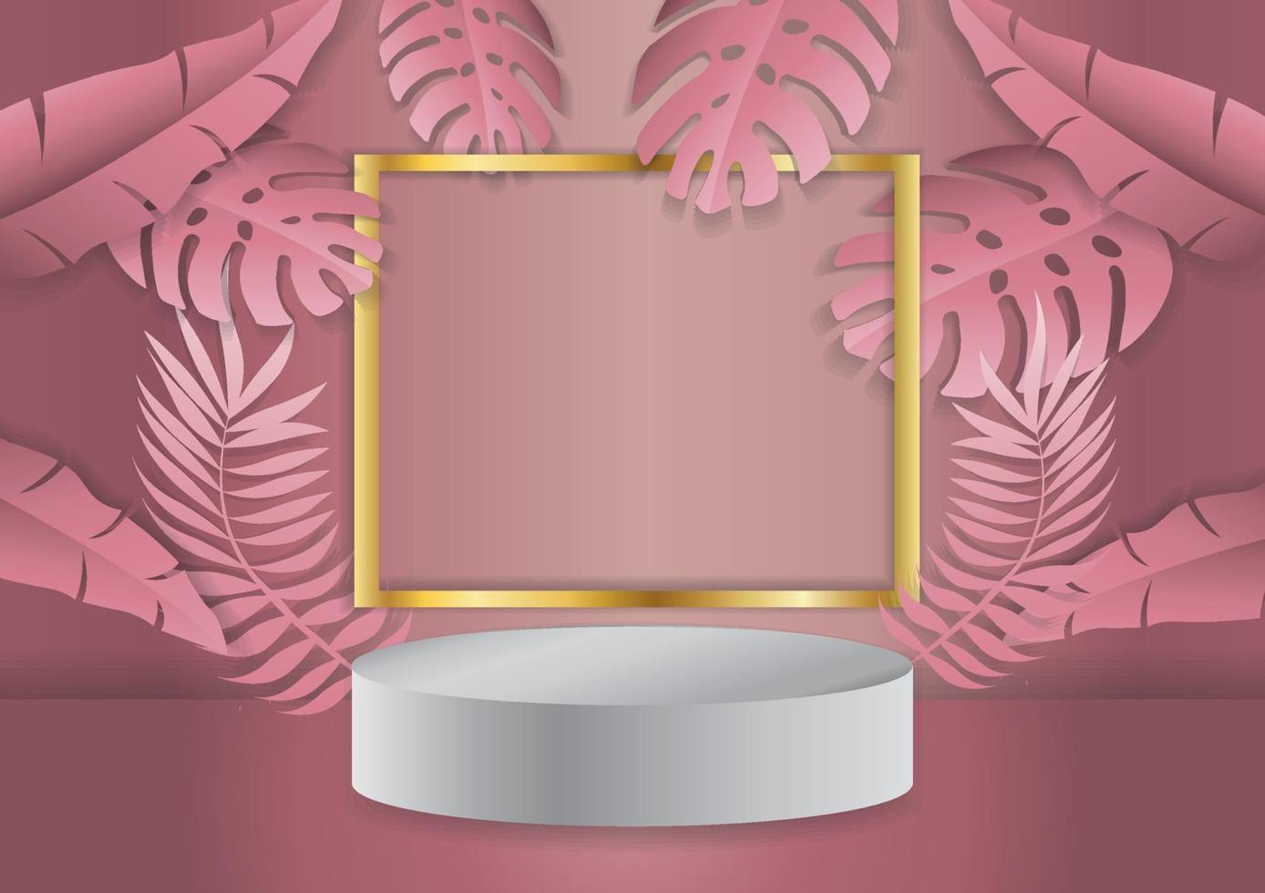 podiumskärm med tropisk bladbakgrund vektor