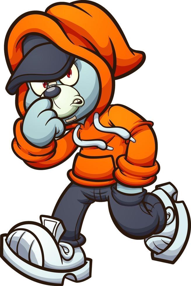 grauer Teddybär mit orangefarbenem Hoodie zu Fuß. Vektor-ClipArt-Illustration mit einfachen Verläufen. vektor