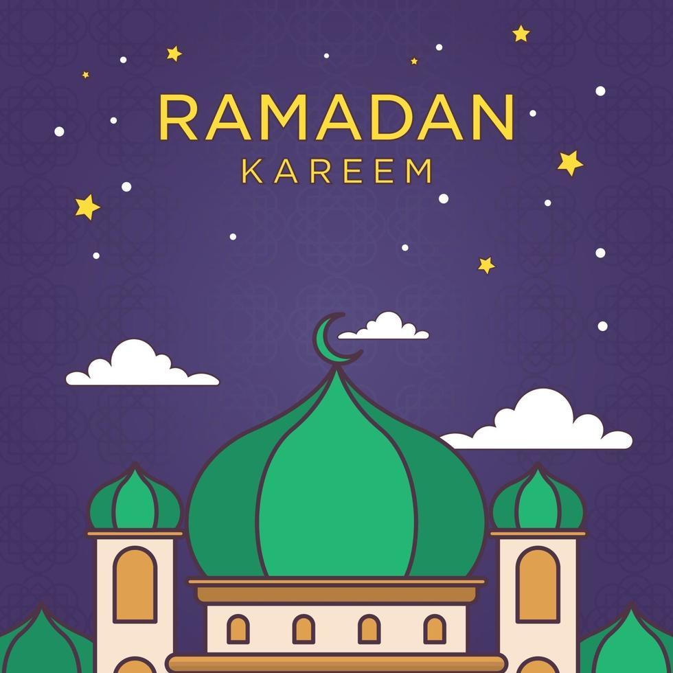 Monoline Cartoon Ramadan Kareem Ornament mit hellen Farbvektor Illustration. Moschee und Monat gezeichnete Linie einfach. Hintergrund eid mubarak vektor