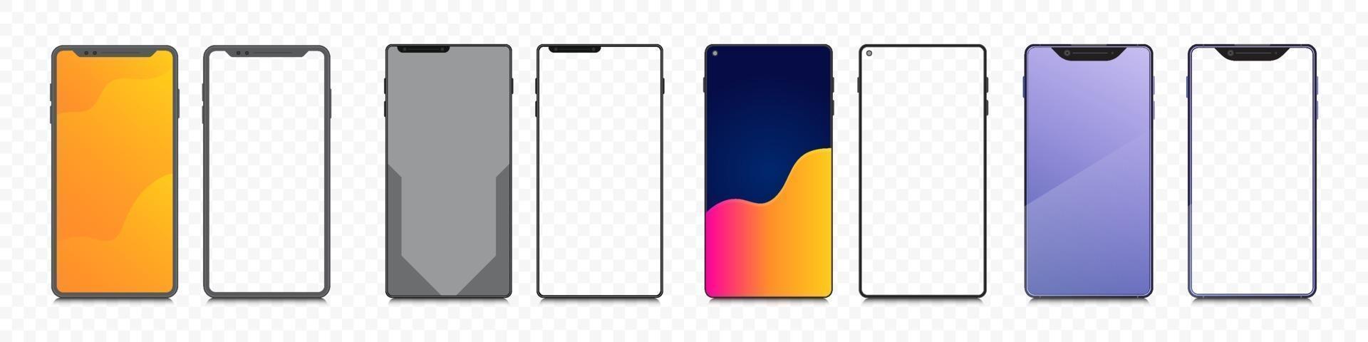 Smartphone-Modell einstellen. Bündel mobiler transparenter Bildschirm. Sammlungsrahmen Telefonanzeige Hintergrund. vektor