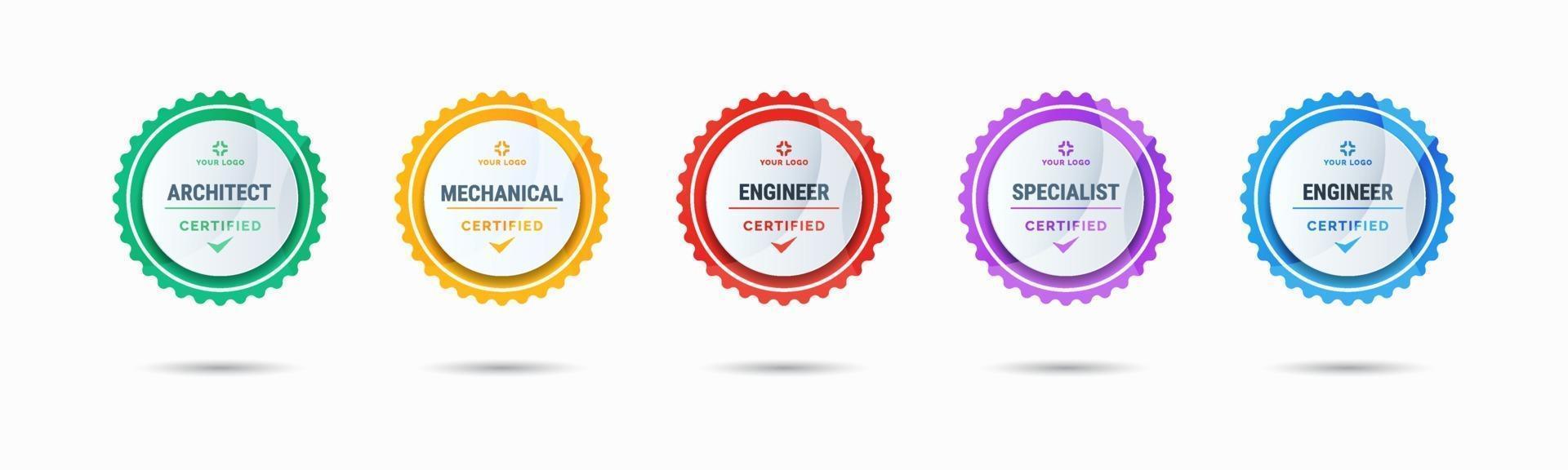 Design des zertifizierten Ausweislogos für Firmenausbildungsausweiszertifikate zur Bestimmung anhand von Kriterien. Set Bundle zertifizieren bunte Vektor-Illustration. vektor