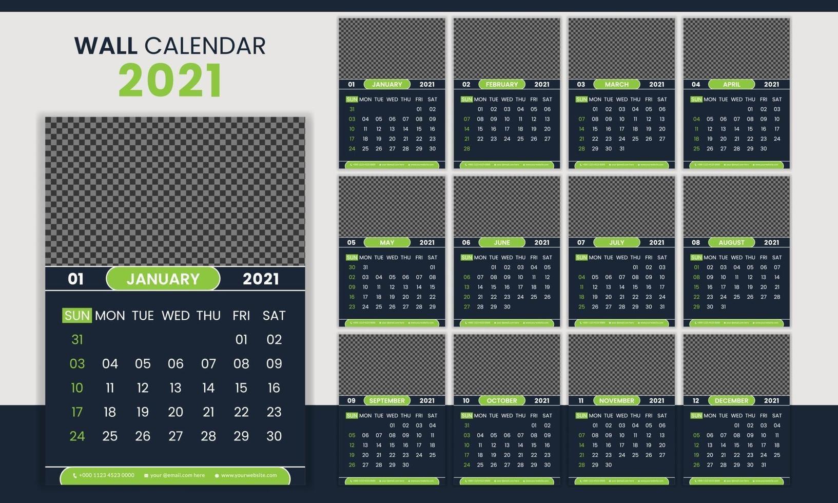 kreative Corporate Business Wandkalender Vorlage 2021 vektor