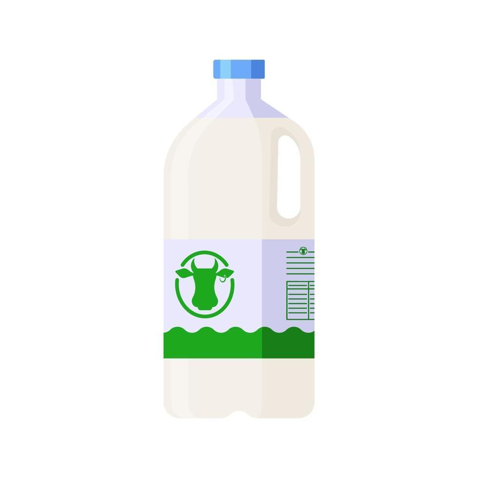 flache Artplastikflasche der Milch lokalisierte Ikone auf weißem Hintergrund vektor