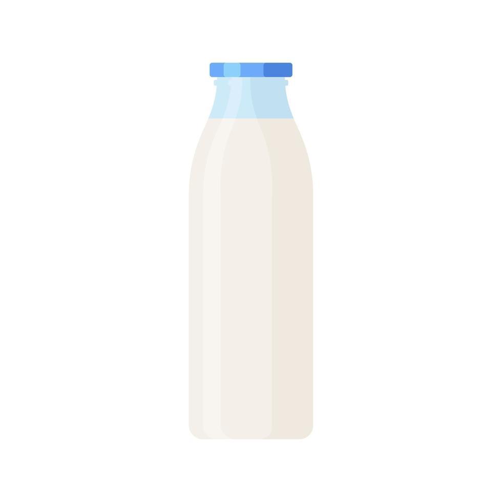 Glasflasche Milch lokalisierte Ikone auf weißem Hintergrund vektor