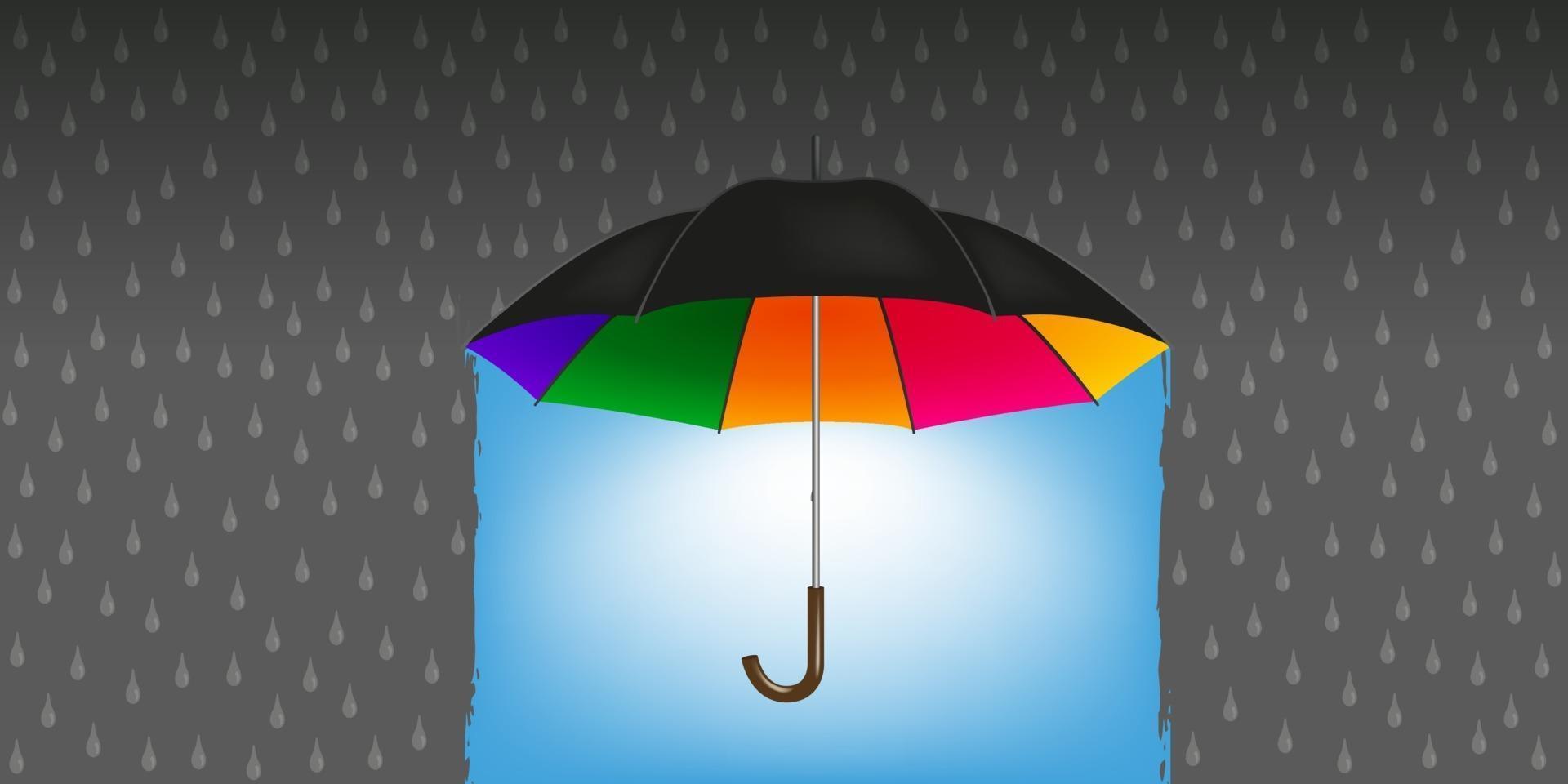 Ein magischer Regenschirm verwandelt Regen in gutes Wetter vektor
