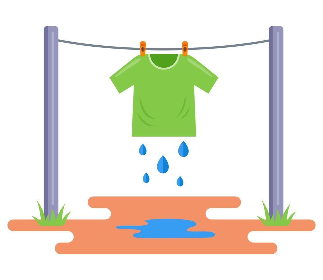 Das gewaschene T-Shirt wird im Freien getrocknet. Nasse Kleidung an ein Seil hängen. flache Vektorillustration lokalisiert auf weißem Hintergrund. vektor